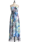 Magnified Beauty Dress - Long, Multi, Yellow, Green, Blue, Strapless, High-Low Hem, Print, Party, Maxi, Spring, Belted, Sheer, Tis the Season Sale, Beach/Resort