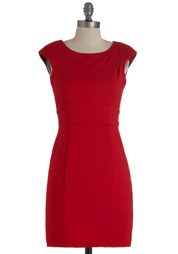 Director's Cutout Dress - Short, Red, Solid, Cutout, Shift, Cap Sleeves, Holiday Party, Bodycon / Bandage