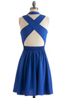 Crisscross off Your List Dress - Mid-length, Blue, Sleeveless, A-line, Solid, Backless, Party, Fit & Flare, V Neck