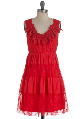 Raspberry Spritzer Dress - Mid-length, Red, Lace, Sleeveless, Crochet, Party, Empire, Solid, Ruffles, Tiered, Coral