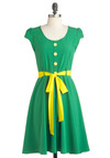 Buttercup of Sugar Dress - Mid-length, Green, Yellow, Buttons, Party, A-line, Cap Sleeves, Belted, Spring, Solid, Vintage Inspired, Neon, Fit & Flare