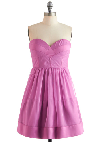 Bloom in the Ballroom Dress - Pink, Solid, Prom, Strapless, Party, A-line, Mid-length