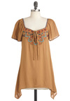 Boho and Arrow Top - Long, Brown, Embroidery, Casual, Boho, Short Sleeves, Multi, Solid, Sweetheart