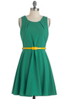 On a Winning Streak Dress - Mid-length, Green, Yellow, Solid, Party, A-line, Sleeveless, Belted, Scholastic/Collegiate, Fit & Flare