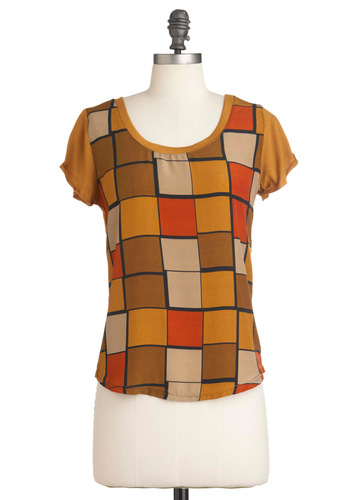 Tile Be There Top - Brown, Print, Short Sleeves, Orange, Yellow, Tan / Cream, Scholastic/Collegiate, Mid-length