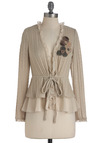 Crafter Party Cardigan - Mid-length, Tan, Solid, Flower, Knitted, Ruffles, Long Sleeve, Casual