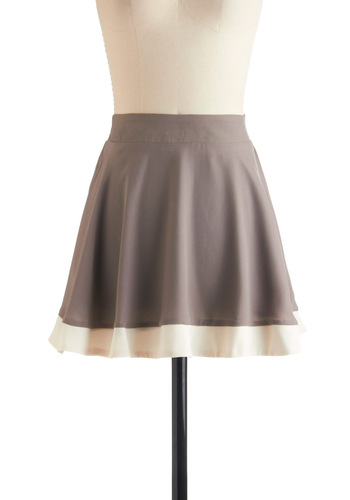 Graphite Club Skirt - Short, Grey, A-line, White, Solid, Casual