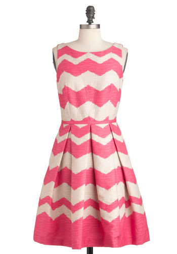 At Every Pattern Dress in Zigzag - Pleats, Pockets, Sleeveless, Print, Party, Fit & Flare, Pink, Tan / Cream, Mid-length