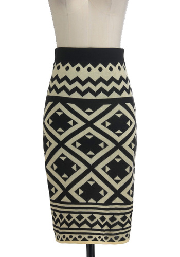 Meeting in St. Moritz Skirt - Long, Tan / Cream, Pencil, Black, Print, Exposed zipper, Casual, Winter