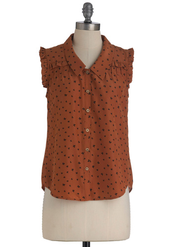 Bow to Speak Top - Mid-length, Brown, Black, Print, Buttons, Ruffles, Sleeveless, Casual, Button Down, Collared