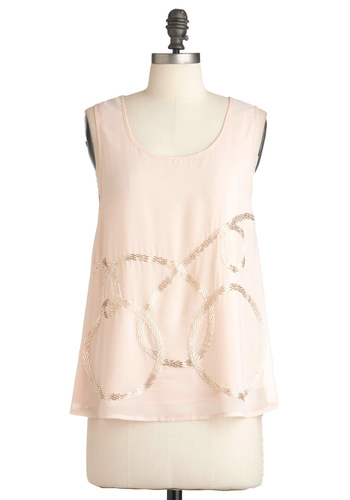 That's My Curlicue Top - Solid, Beads, Casual, Pink, Tank top (2 thick straps), Mid-length