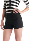 Shore of It Shorts - Black, Solid, Buttons, Nautical, Pinup, High Waist