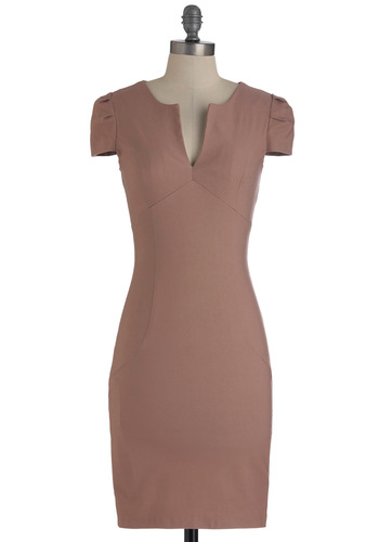 Chic & Him Dress in Dusty Rose - Mid-length, Pink, Solid, Work, Sheath / Shift, Cap Sleeves, Fall, Pleats