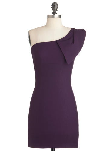 Shoulder Me How Dress in Violet - Short, Purple, Solid, Sheath / Shift, One Shoulder, Party, Mini, Cocktail, Bodycon / Bandage, Prom