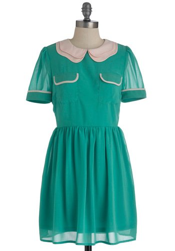 Lima Let You Finish Dress - Mid-length, Green, Tan / Cream, Peter Pan Collar, Pockets, Casual, A-line, Short Sleeves, Solid, Vintage Inspired, Scholastic/Collegiate, Sheer, Collared