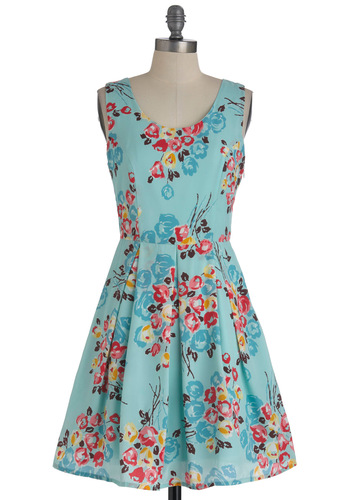 Tulip Sync Dress - Mid-length, Blue, Yellow, Green, Pink, Floral, Pleats, Party, Sleeveless, Spring, Fit & Flare