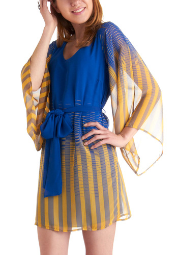 A Different Beatnik Dress in Stripes - Short, Yellow, Blue, Stripes, Party, Shift, 3/4 Sleeve, Belted, Sheer, V Neck