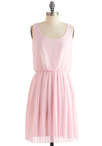 Drifting in Pink Dress - Mid-length, Pink, Solid, Pleats, Party, Cutout, Shift, Tank top (2 thick straps), Pastel, Sheer, Scoop