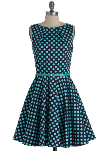 Luck Be a Lady Dress in Blue Dots - Blue, Polka Dots, Exposed zipper, Party, Sleeveless, Belted, Mid-length, Fit & Flare