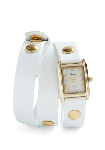 The Bands of Time Watch in White - White, Gold, Solid, Studs, Casual