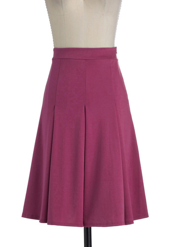 Foodie for Thought Skirt in Berry - Long, Solid, Pleats, A-line, Purple, Work, Minimal