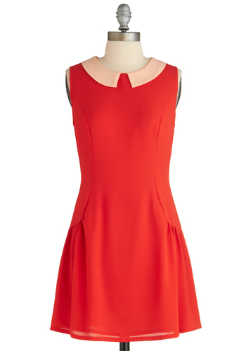 Citrus Chic Dress - Mid-length, Solid, Peter Pan Collar, Casual, A-line, Sleeveless, Orange, Vintage Inspired, 60s, Coral