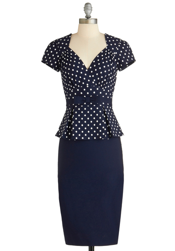 First Stop, Style! Dress by Stop Staring! - Long, Blue, White, Polka Dots, Bows, Work, Pinup, Vintage Inspired, 50s, Peplum, Short Sleeves, Sweetheart