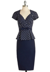 First Stop, Style! Dress by Stop Staring! - Long, Blue, White, Polka Dots, Bows, Work, Pinup, Vintage Inspired, 50s, Peplum, Short Sleeves, Sweetheart, Exclusives