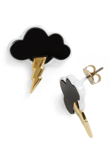 Lightning Camera Action Earrings - Black, Gold, Solid