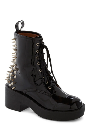 Rad Reputation Boots by Jeffrey Campbell - Black, Solid, Studs, Military, Mid, Lace Up, 80s, Faux Leather, Platform