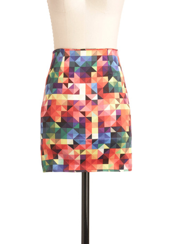 Its a Colorful Life Skirt by Motel - Short, Multi, Red, Orange, Yellow, Green, Blue, Purple, Mini, Print, Girls Night Out, Bodycon / Bandage