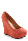 Cameo So Cute Wedge in Coral - Wedge, Orange, Solid, High, Faux Leather, Coral