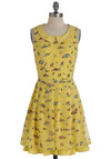 Let's Go for a Drive-In Dress by Yumi - Yellow, Multi, Peter Pan Collar, Party, Vintage Inspired, A-line, Sleeveless, Tiered, Mid-length, Belted, Pastel, Collared, Fit & Flare