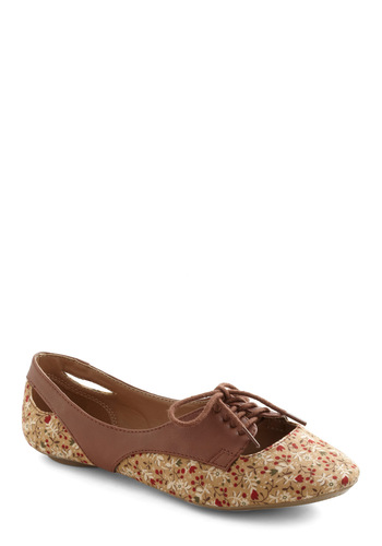 Frequent Fun Flat - Multi, Floral, Flat, Lace Up, Cutout, Brown, Fall