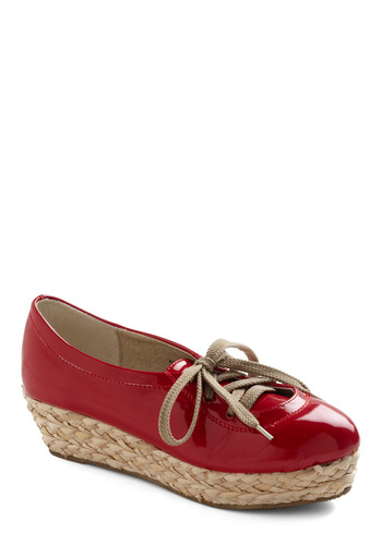 Campaign Flatform - Wedge, Red, Tan / Cream, Solid, Mid, Lace Up, Braided, Faux Leather