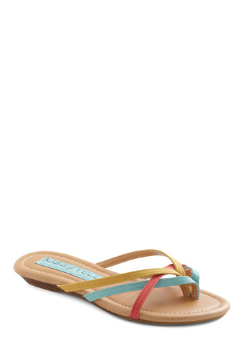 Kiss and Pastel Sandal - Red, Yellow, Blue, Casual, Summer, Flat, Strappy, Pastel