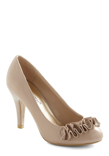 Season's Meetings Heel - Tan, Solid, Ruffles, Mid, Work, Faux Leather, Graduation