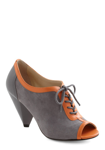 Heading Out Heel - Grey, Orange, Mid, Lace Up, Peep Toe, Leather