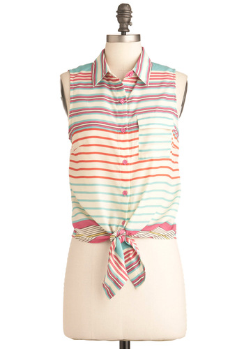 Ten-Pin Panache Top - Short, Multi, Orange, Blue, Pink, Tan / Cream, Stripes, Pockets, Casual, Sleeveless