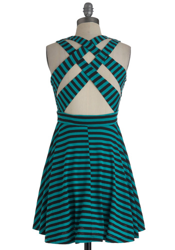 Evening Stroll Dress - Short, Black, Stripes, Backless, Casual, A-line, Green, Tank top (2 thick straps), Tis the Season Sale