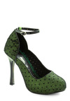 Shine Lichen a Star Heel by Bettie Page - Green, Black, Polka Dots, Glitter, High, Special Occasion, Party, Film Noir, Cocktail, Holiday Party
