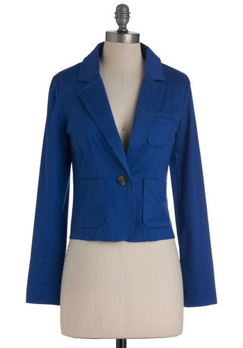 Scholarly on Saturday Blazer - Short, Blue, Solid, Pockets, Long Sleeve, Work, Scholastic/Collegiate, 1