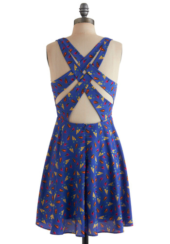 Hit the Ground Stunning Dress - Mid-length, Multi, Backless, Casual, A-line, Summer, Buttons, Blue, Multi, Tank top (2 thick straps), Fruits