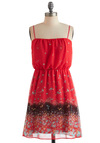Club Meadow Dress - Mid-length, Red, Multi, Floral, Party, Casual, A-line, Spaghetti Straps, Sheer, Daytime Party