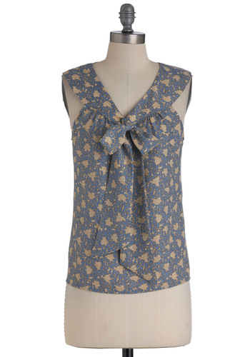 I Bow It Well Top - Mid-length, Blue, Tan / Cream, Print, Sleeveless, Tie Neck, V Neck