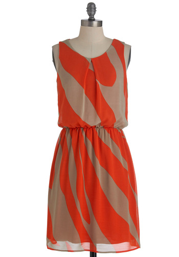 Swirled Traveler Dress - Mid-length, Orange, Tan / Cream, Print, Sleeveless, Casual, Shift