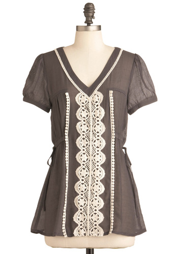 Blouse in the Country Top - Grey, White, Boho, Short Sleeves, Lace, Casual, Mid-length, Sheer