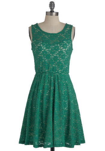 Topiary Artist Dress - Green, Lace, Party, A-line, White, Tank top (2 thick straps), Sheer, Solid, Summer, Mid-length