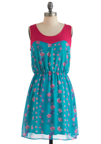 Pressing Decisions Dress - Mid-length, Blue, Green, Purple, Pink, Floral, Casual, A-line, Sleeveless, Spring