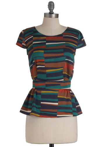 It All Stacks Up Top - Mid-length, Multi, Cap Sleeves, Peplum, Multi, Print, Work